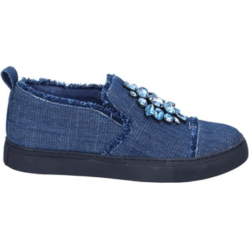 Scarpe Donna Slip on Sara Lopez slip on blu tessuto pietre BT996 blu