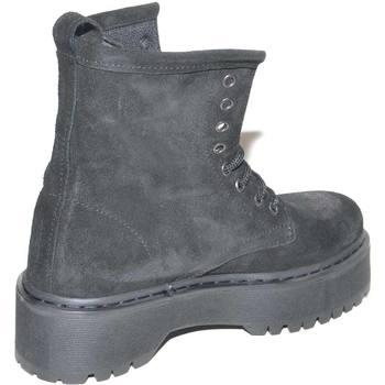 Scarpe Donna Stivaletti Malu Shoes Scarpe anfibio donna nero in vero camoscio spazzolato made in i NERO