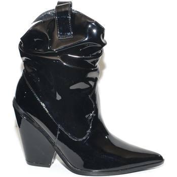 Scarpe Donna Stivaletti Malu Shoes TRONCHETTO DONNA CAMPEROS LUCIDO NERO CON TACCO CONO COMODO E R NERO