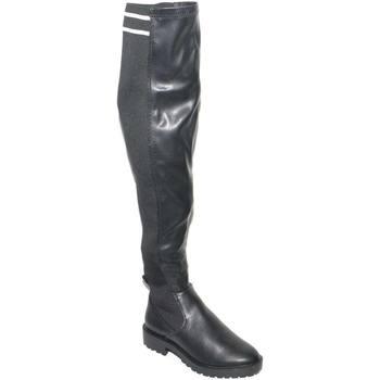 Scarpe Donna Stivali a metà coscia Malu Shoes STIVALE ALTO DONNA NERO EFFETTO CALZINO CON STRISCE BIANCHE ALT NERO