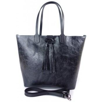 Borse Donna Tote bag / Borsa shopping Vera Pelle SB599N Nero