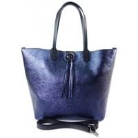 Borse Donna Tote bag / Borsa shopping Vera Pelle SB599BS Blu marino