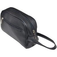 Borse Uomo Pochette / Borselli Malu Shoes Pochette uomo a mano nero semitonda con zip e chiusura a portaf NERO