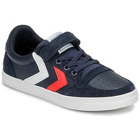 Scarpe Unisex bambino Sneakers basse Hummel SLIMMER STADIL LEATHER LOW JR Blu