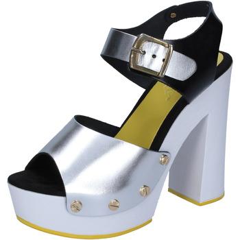 Scarpe Donna Décolleté Suky Brand sandali argento nero pelle BS16 Argento