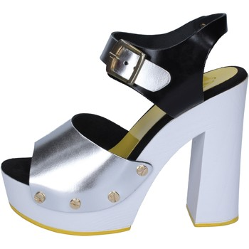 Sandali argento nero pelle BS16