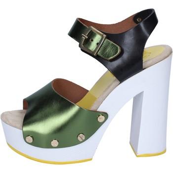 Sandali verde nero pelle BS18