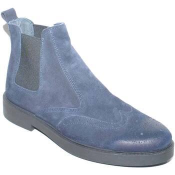 Scarpe Uomo Stivaletti Made In Italia Beatles uomo stivaletto inglese vera pelle spazzolata blu con r BLU