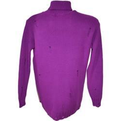 Abbigliamento Uomo Maglioni Made In Italia Maglione dolcevita uomo lungo viola slim fit ad intessitura lar VIOLA
