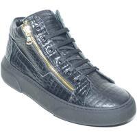Scarpe Uomo Sneakers alte Malu Shoes Sneakers alta in vera pelle pitonata con doppia zip oro fondo u NERO