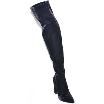 Scarpe Donna Stivali a metà coscia Malu Shoes Stivali donna in velluto nero alti sopra il ginocchio a punta l NERO