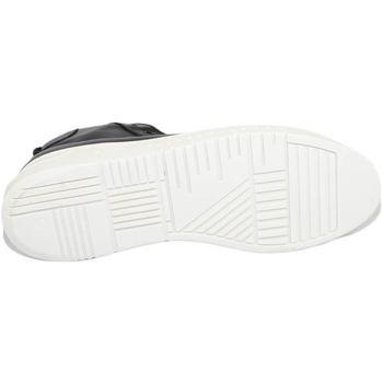 Scarpe Uomo Sneakers alte Malu Shoes SNEAKERS UOMO ALTA IN VERA PELLE VITELLO NERO IMPERMEABILE FOND NERO
