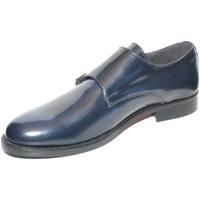 Scarpe Uomo Mocassini Malu Shoes SCARPE UOMO CLASSICO DOPPIA FIBBIA IN VERA PELLE BLU CON FONDO BLU