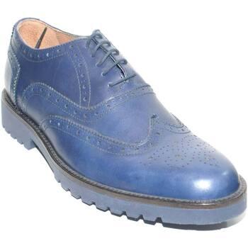 Scarpe Uomo Derby Malu Shoes SCARPE UOMO STRINGATA VERA PELLE MORBIDA BLU NAVY MADE IN ITALY BLU