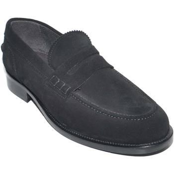 Scarpe Uomo Mocassini Malu Shoes Scarpe uomo mocassini inglese college vera pelle scamosciata ne NERO