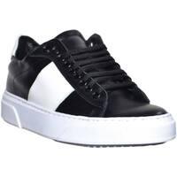 Scarpe Uomo Sneakers basse Made In Italia sneakers bassa uomo in vera pelle nera bicolore bianca con stri NERO