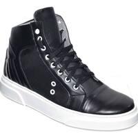 Scarpe Uomo Sneakers alte Malu Shoes Sneakers uomo alta in vera pelle con fortino metallico argento NERO
