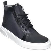 Scarpe Uomo Sneakers alte Malu Shoes Sneakers uomo alta in vera pelle gommata, vitello e tela imperm NERO