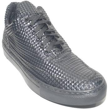 Scarpe Uomo Sneakers basse Made In Italia Sneakers bassa uomo piramidale con linguetta asimmetrica e lacc NERO