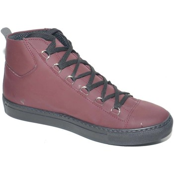 Scarpe Uomo Sneakers alte Made In Italia Sneakers alta in vera pelle gommata bordeaux stringata con ganc BORDEAUX