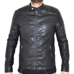 Abbigliamento Uomo Giacca in cuoio / simil cuoio Malu Shoes Giubbino giacca uomo in simil pelle con imbottitura e doppia zi NERO