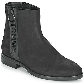 Scarpe Donna Stivaletti Tommy Jeans TOMMY JEANS ZIP FLAT BOOT Nero