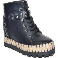 Scarpe Donna Sneakers alte Malu Shoes Sneakers alta donna con para zeppa interna chiusura in lacci fo NERO