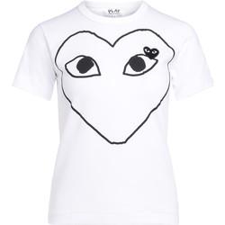 Abbigliamento Donna T-shirt maniche corte Comme Des Garcons T-Shirt  bianca con cuore nero Bianco