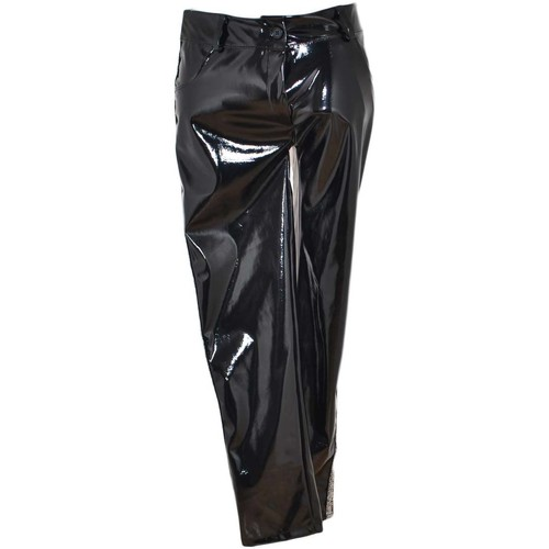 17c0e369cc46 Abbigliamento Donna Leggings Malu Shoes Pantaloni donna tipo leggins in  vinile lucido nero con striscia NERO