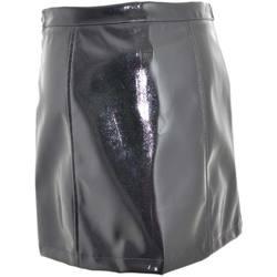 Abbigliamento Donna Gonne Malu Shoes Gonna mini donna in vinile nero rigido lucido cerniere frontali NERO
