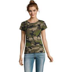 Abbigliamento Donna T-shirt maniche corte Sols CAMOUFLAGE DESIGN WOMEN Gris