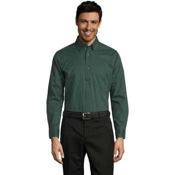 Abbigliamento Uomo Camicie maniche lunghe Sols BEL-AIR TWILL MEN Verde