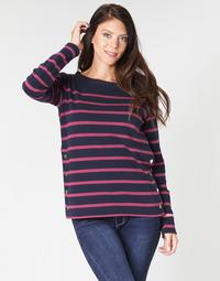 Abbigliamento Donna T-shirts a maniche lunghe Armor Lux BRIAN Marine / Rosa