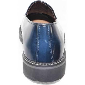 Scarpe Uomo Mocassini Malu Shoes Scarpe mocassino pelle blu lucido abrasivato fondo nero righo g BLU