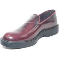 Scarpe Uomo Mocassini Malu Shoes Scarpe uomo mocassino bordeaux tinta unita fondo nero punta ton BORDEAUX
