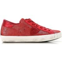 Scarpe Donna Sneakers basse Philippe Model sneakers donna in pelle rossa scamosciata con rosso