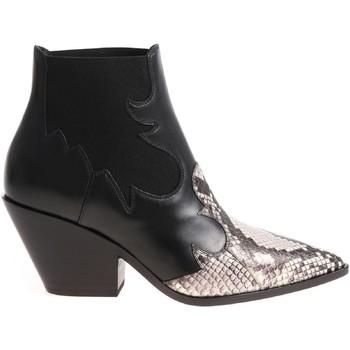 Scarpe Donna Stivaletti Casadei stivaletti cowboy alla caviglia da donna in pelle ne nero