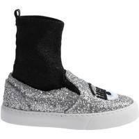 Scarpe Donna Sneakers alte Chiara Ferragni sneakers alte donna in tessuto e nero glitt argento