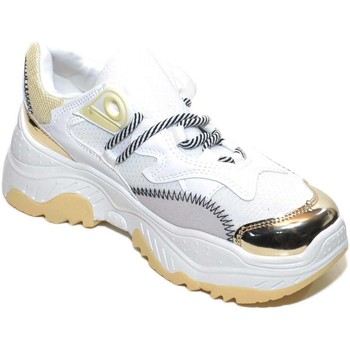 Scarpe Donna Sneakers basse Malu Shoes Sneakers donna bassa bianca con fondo alto ondulato Bale laccio BIANCO