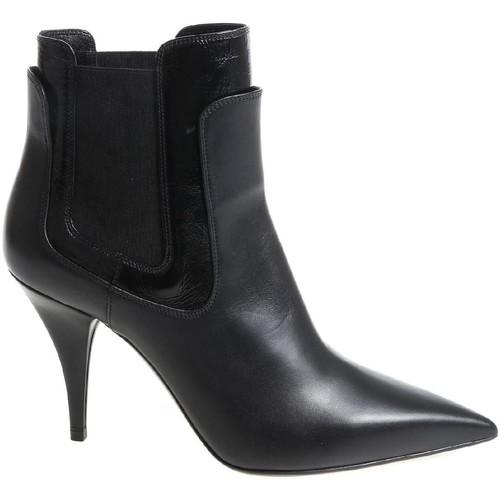 Scarpe Donna Stivaletti Casadei stivaletti alla caviglia donna in pelle nera con tac nero
