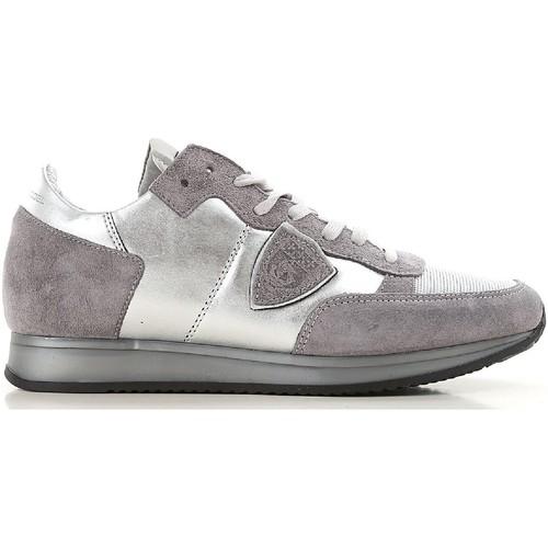 Scarpe Donna Sneakers basse Philippe Model sneakers donna in pelle e tessuto argento
