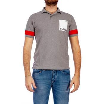 Abbigliamento Uomo Polo maniche corte Sun68 A19124 34 GRI Polo Uomo Uomo Grigio Grigio