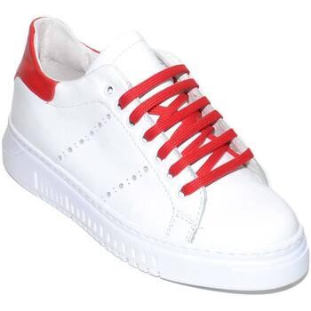 Scarpe Uomo Sneakers basse Made In Italia Sneakers bassa uomo bianca in vera pelle riporto rosso e lacci BIANCO