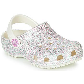 Scarpe Bambina Zoccoli Crocs CLASSIC GLITTER CLOG K Bianco