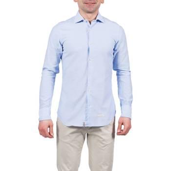 Abbigliamento Uomo Camicie maniche lunghe Tintoria Mattei 1UY6TYBABY REG Camicia Uomo Uomo Celeste Celeste