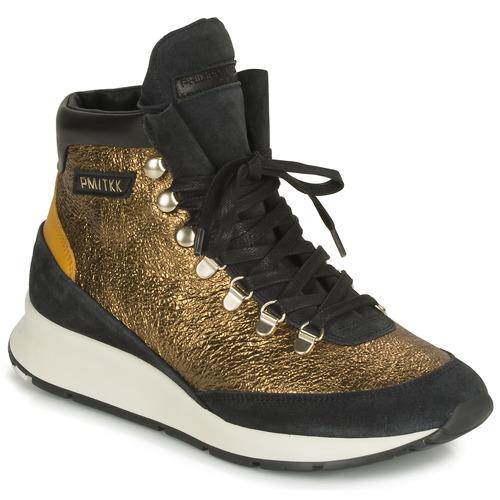 Scarpe Donna Sneakers alte Philippe Model MONTECARLO Oro / Nero
