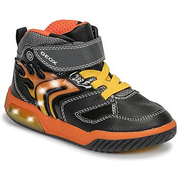 Scarpe Bambino Sneakers alte Geox J INEK BOY Nero / Arancio