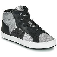 Scarpe Bambina Sneakers alte Geox J KALISPERA GIRL Nero / Argento