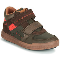 Scarpe Bambino Sneakers alte Geox J ARZACH BOY Marrone / Arancio