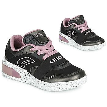Scarpe Bambina Sneakers alte Geox J XLED GIRL Nero / Rosa